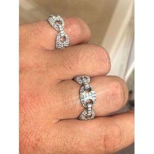 Harlembling 925 Silver Gucci Link Diamond Ring